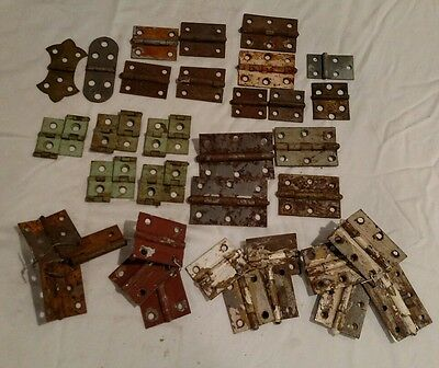 Vintage HINGE LOT OLD DOOR DECOR STEEL STRAP PRIMITIVE RUSTY RUST Lot Of 35 sets