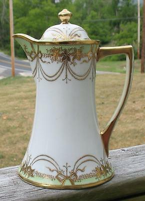 """NIPPON JAPANESE FINE CHINA WHITE with GREEN & GOLD """"CHOCOLATE POT"""""""
