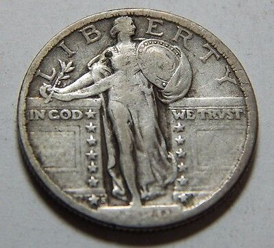 1920-S Silver Standing Liberty 25¢ Quarter Coin  - Fine Detail