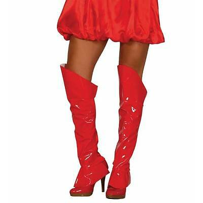 Red Boot Top Superwoman Wonderwoman Shoe Covers 60's Go GO Fancy Dress
