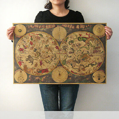 Poster World Map Retro Bar coffee Shop Wall Decor Gift Antique Constellation Map
