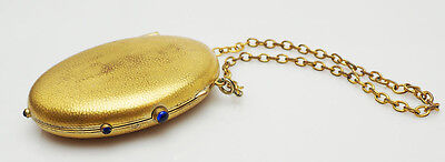 Very rare antique Brevete hammered 18k gold fill metal compact mirror coin purse