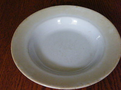 Antique Vintage White Ironstone Dinnerware China Soup Bowl Powell & Bishop