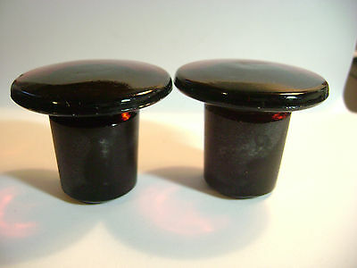 2 Vintage Apothecary Medicine Bottle Glass Stoppers -Dark Rusty Red