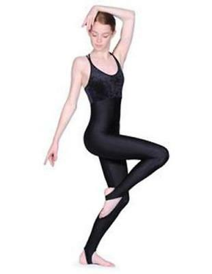 Black Catsuit - Roch Valley black Double Cross strap & stirrup leotard RV2380