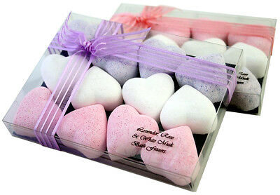 Lavender Rose White Musk Luxury Piece Heart Shaped Bath Fizzers BOMBS Gift Set