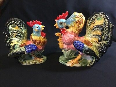 Vintage Wales Rooster & Hen Ceramic Pair, Colorful Farmhouse Decor, Mid-Century