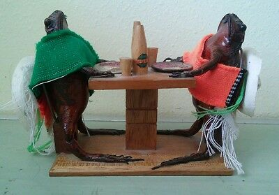 "TAXIDERMy 2 Big Vintage Frogs Drinking beer at Wooden Bar 3x5x7"" Cozumel Mexico"