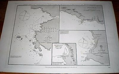 1863 ADMIRALTY CHART ~ FORMER COAST OF PERU (NOW CHILE) ~ H.M.S. BEAGLE in 1836