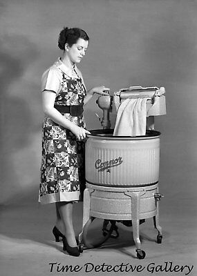 Woman with a Ringer Washer - 1950 - Vintage Photo Print