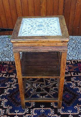Old Chinese Wooden Tea Table with Tile Top Excellent Condition Customs Warranty