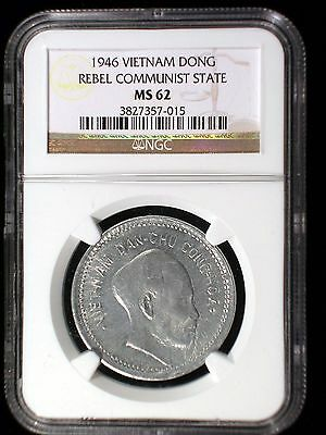 Viet Nam Rebel Communist State 1946 Dong *NGC MS-62* Sharp Lustrous RARE Low Min