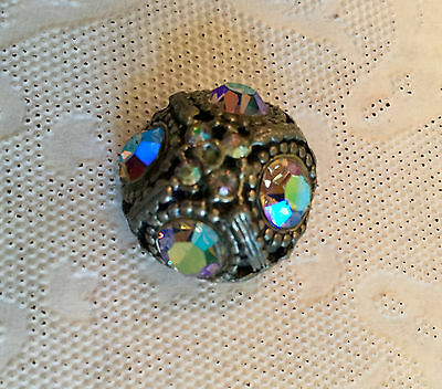 ABSOLUTELY STUNNING! LARGE ANTIQUE BUTTON – 8 Iridescent Stones.ELEGANT!