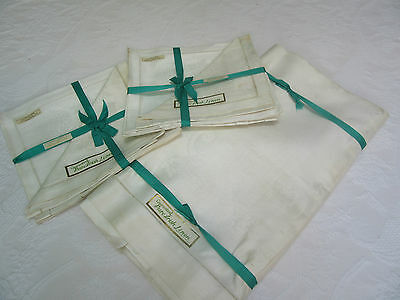 Vintage NEW Irish Linen Damask Tablecloth 60x90, Plus 8 Napkins 16 in.