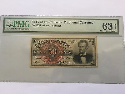 50 Cent Fractional Currency Fr-1374 Lincoln Pmg Choice Uncirculated-63