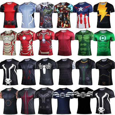 Men Marvel Avengers Superhero T-Shirt Compression Sports Cycling Jersey Tops Tee