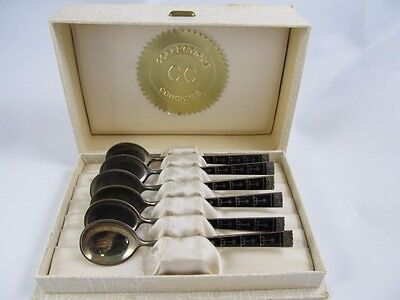 Hestenes Norway Sterling Set 6 Boxed Enameled Spoons Xlnt Cond No Mono