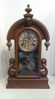 Walnut Waterbury Parisian? 1880s shelf clock with alarm.