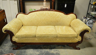 Antique Duncan Phyfe Sofa with Grape, Oak Leaf & Griffin Carvings and Paw Feet