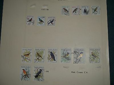 Page Of Used Bird Stamps