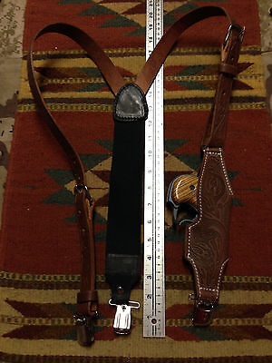 Western Style Brown Leather Suspenders w Derringer Holster - Metal Pant Clips