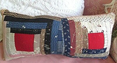 "1800s Antique Log Cabin Quilt Pillow Primitive Country Cottage Red Blue7x15""PA 1"