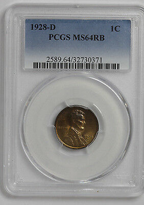 1928 - D - Lincoln Cent PCGS MS64RB