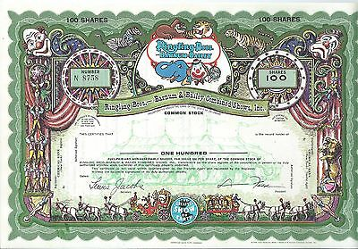 Ringling Brothers Bros. Barnum & Bailey specimen stock certificate Green border