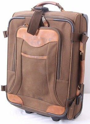 Cabela's Rolling Leather Travel Canvas Briefcase Suitcase Luggage Carry On