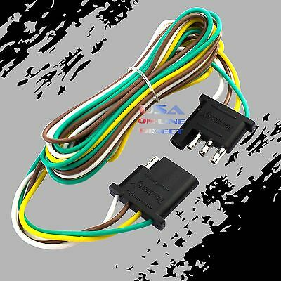 4-Pin Plug Trailer Light Wiring Harness Extension Flat Wire Connector 12ft 18awg
