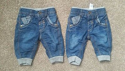 boys unisex twins jeans 0-3 months 2 pairs