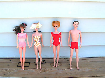 Vintage Barbie/Ken Doll Lot with Accessories-some rare! 1950/1960's 1 Bubble cut