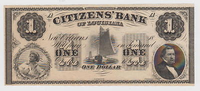 Citizens' Bank Of Louisiana at New Orleans c1850 $1 Bank Note American Bank Note