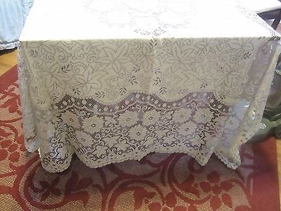 """Beautiful Cotton Quaker Lace Tablecloth 50"""" by 66"""" Off White & Ecru"""