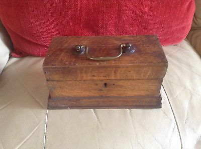 ANTIQUE WOODEN BOX WITH HANDLE- Needs New Lock