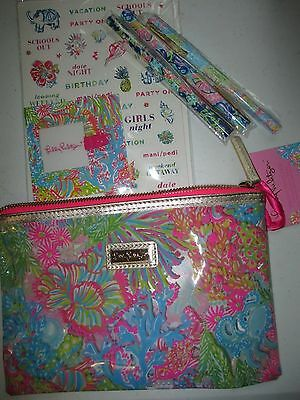 Lilly Pulitzer Agenda Pack Makeup Bag Stickers pattern Pens Holder lovers coral