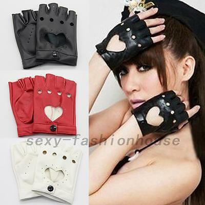 Fashion Half Finger Driving Dance Women PU Leather Fingerless Gloves SF