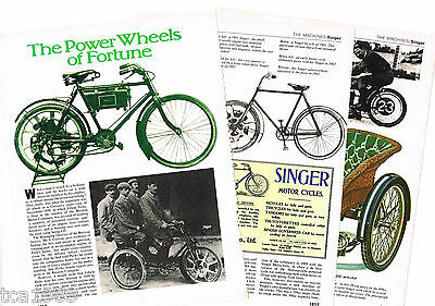 Vintage SINGER (UK) MOTORCYCLE 5 pg Article / Photos / Pictures