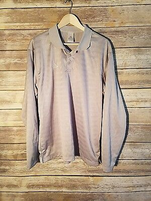 Adidas Men's Polo Shirt Silver Long Sleeve ClimaLite Casual Athletic Size Large