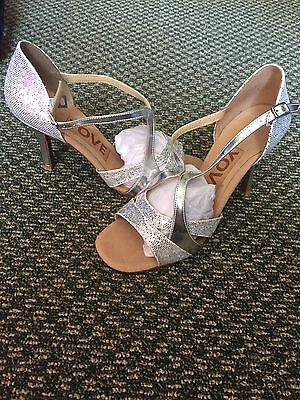 Women's Latin Salsa Ballroom Shoes Silver Sparkle Size 7 1/2