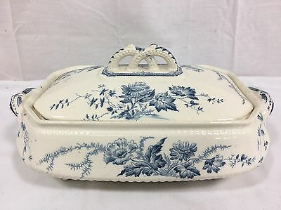 Burgess and Leigh Blue Transferware Vegetable Dish w lid Vintage Pottery China