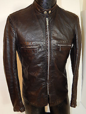 Vtg 50's Brooks Men J-100 Leather CAFE RACER Jacket Motorcycle BIKER Coat S 38