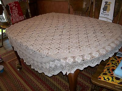 "Vintage Hand Crochet ecru tablecloth 62"" round Beautiful lacey/flower pattern"