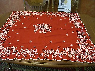 "Beautiful Red Strawberry design Vintage 40"" sq. tablecloth/topper red with white"