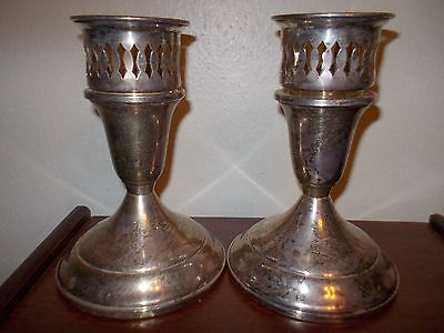 Towle Sterling Silver Candlesticks with sterling inserts