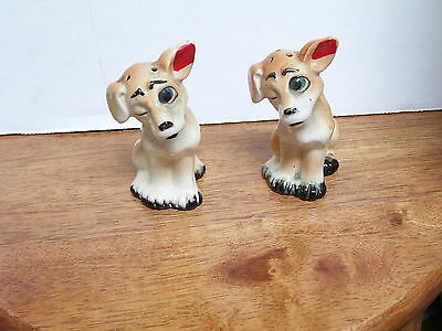"Vintage Salt and Pepper shakers  Set of Dogs 3-1/2"" tall Sticker Japan"