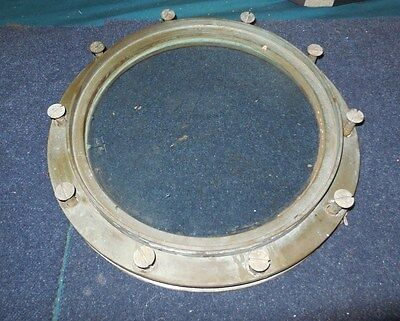 Vintage Original Brass Ship Stationary Porthole / Us Navy