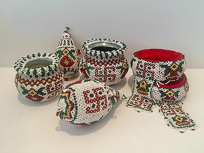 Antique Swastika Whirling Log Indian India Native American Beaded Pots Headdress