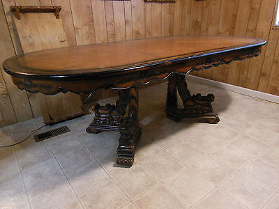 Vintage OVAL Dining Table mid century Dragon Legs Hunt Carved Wood LARGE