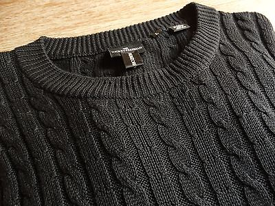 Hickey Freeman Mens Solid Black Cable Knit Designer Sweater Size: Large